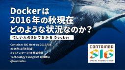 Dockerは2016年の秋現在どのような状況なのか~忙しい人の5分で分かるDocker~